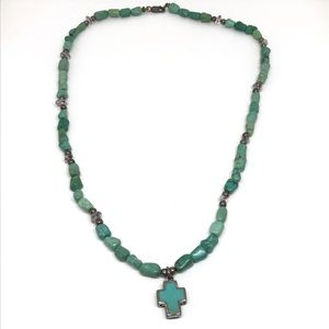 Vintage Turquoise Sterling Cross Necklace
